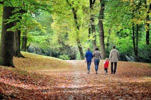 Family vacation photo of travellers walking through forest in Germany, captured by TripShooter Vacation Photographer Annette Mayerhofer
