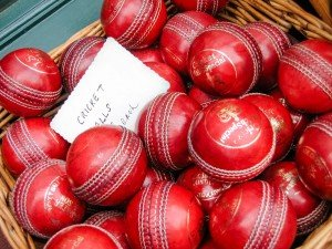 A basket of cricket balls - photo taken on vacation in London