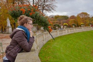 Vacation photo of student in Luxembourg Gardens Paris France