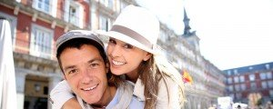 Sample image vacation photo of fun tourist couple in Madrid Spain