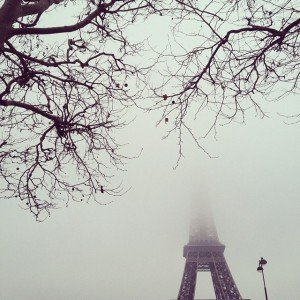Eiffel Tower in winter obscured by mist