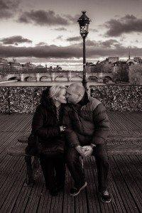 Honeymoon couple kiss in Paris