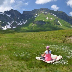 Vacation photo picnic in the alps Switzerland Europe