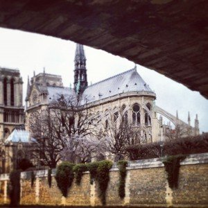 Notre Dame Cathedral romantic honeymoon destination in Paris France from the Seine