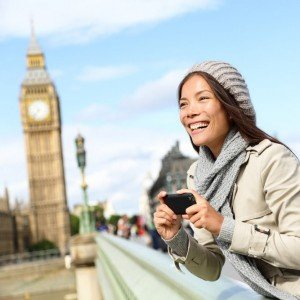 Vacationer holding camera of Big Ben in London