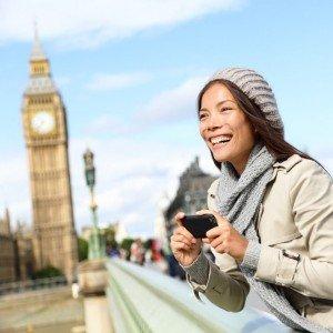 Vacationer holding camera of Big Ben in London
