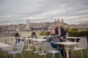 Happy couple on Printemps Rooftop Terrace Paris France