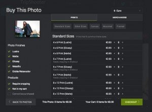 TripShooter Vacation Photographer sample online purchase screen