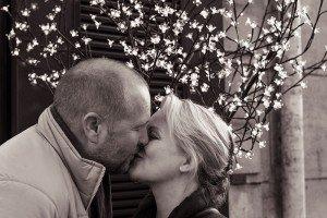 Romance as couple kiss in Paris France