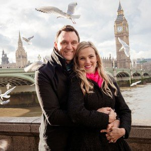 Beautiful couple portrait with Big Ben in London by TripShooter honeymoon photographer