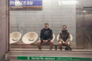 No Pants Subway Ride Paris 2014 men in underwear waiting for metro train