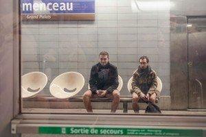 No Pants Subway Ride Paris 2014 men in underwear waiting for metro train