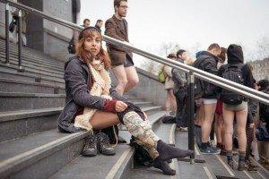 No Pants Subway Ride Paris 2014 woman taking pants off near metro