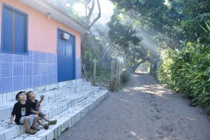 Fascinated children watch smoke in Brazil