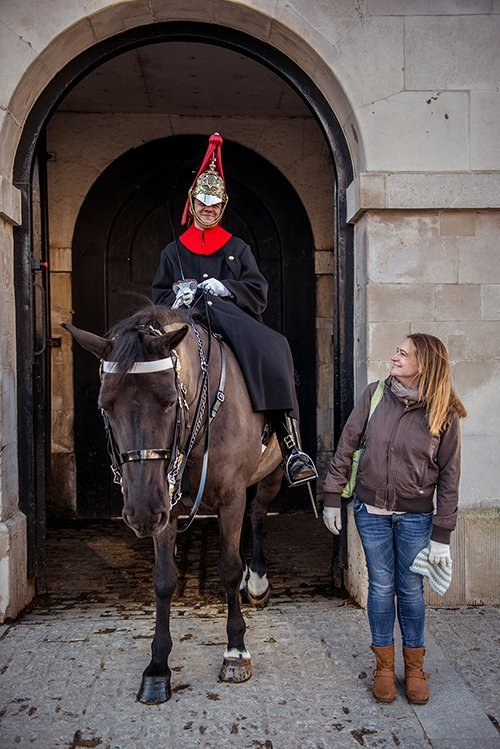 TripShooter Vacation Photography - woman and Whitehall Horse Guard