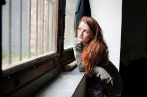 Portrait woman and window by Flaviana Frascogna