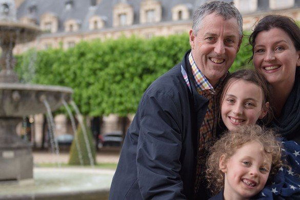 Lovely family at Place des Vosges, Paris