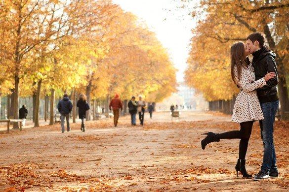 Romantic couple in Autumn