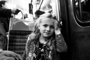 Young girl in the metro