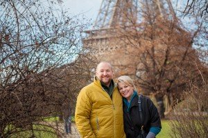 Loving Couple Portrait in Winter at the Champ des Mars, Paris