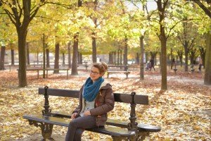 Student portrait in Luxembourg Gardens in Paris, Autumn Leaves