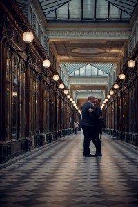 Romantic Couple Portrait in Les Galeries Couvertes, Paris
