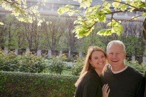 Romantic Couple Portrait in Palais Royale Gardens, Paris