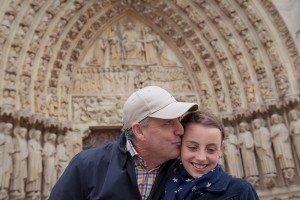 Father and Daughter Portrait at Notre Dame de Paris