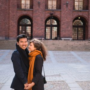 Romantic honeymoon portraits in Stockholm with a Stockholm photographer