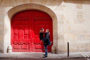 Red Door Romance Couple Photos in Romantic Paris
