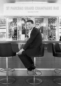 Man in a bar Portrait by David Woolfall London photographer