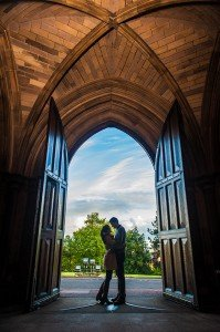 Loveshoot in church doorway by Glasgow photographers Chris Logue and Ewan Cameron