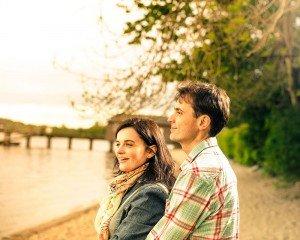 Romantic couple photo by lake - by Glasgow photographers Chris Logue and Ewan Cameron