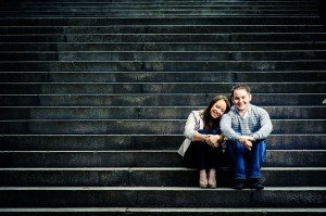 Romantic couple photo on stairs by Glasgow photographers Chris Logue and Ewan Cameron