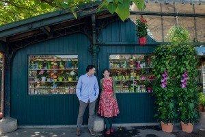 Cute honeymoon couple at Paris flower market