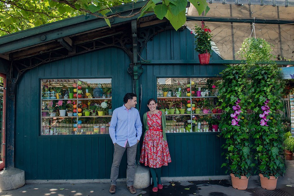 Cute honeymoon couple at Paris flower market