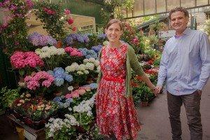Happy honeymoon couple at Paris flower market