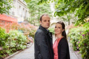 Couple proposing in Paris at rue Tresor, Le Marais, by Paris photographer Jade Maitre for TripShooter