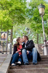 Romantic couple portrait kissing on Montmartre steps by Paris photographer Jade Maitre for TripShooter