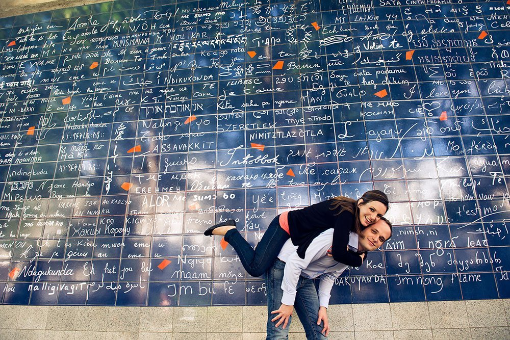 "Romantic Paris portrait at the ""I Love You"" Wall by Paris photographer Jade Maitre for TripShooter"