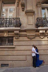 A loving honeymoon couple embrace on a romantic photo shoot in Paris France. Photos by Paris photographer Jade Maitre.