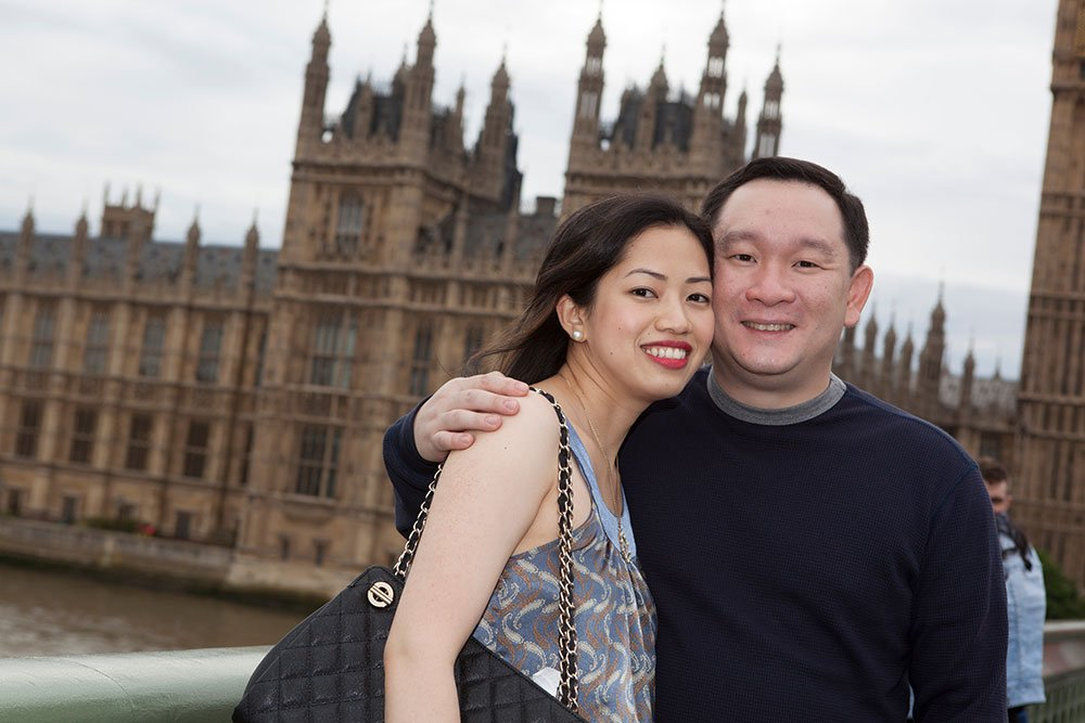 Honeymoon couple at Westminster, by London photographer David Woolfall for TripShooter