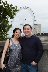 Smiling couple by the London Eye, by London photographer David Woolfall for TripShooter
