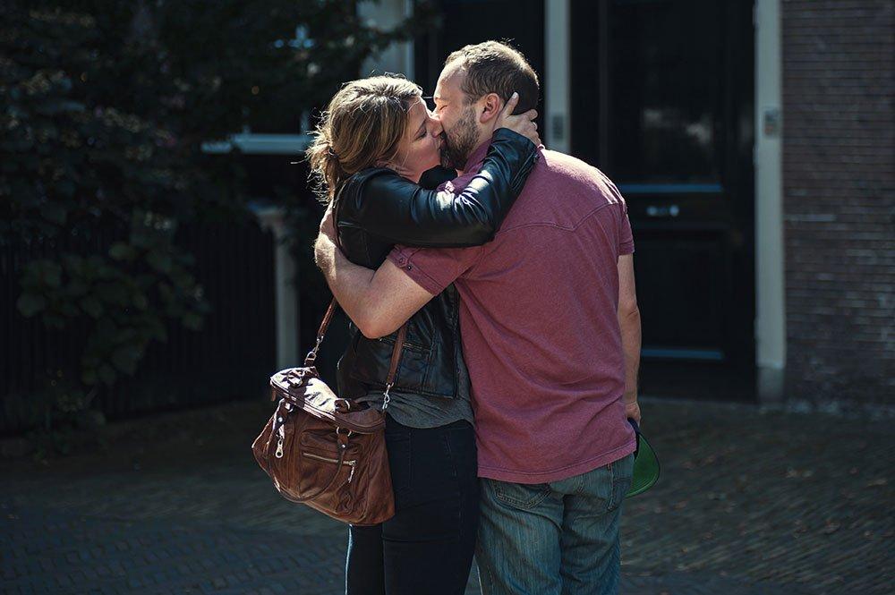 Romantic wedding proposal kiss by TripShooter Amsterdam photographer Sal Marston