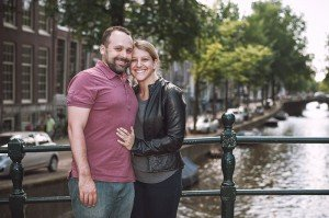 Happy engaged couple portrait by TripShooter Amsterdam photographer Sal Marston