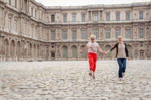Girls skipping and having fun at Paris photo shoot