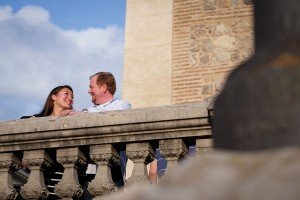 Loving couple smile in Spanish sunshine, by TripShooter Madrid Photographer Ludovic Magnoux
