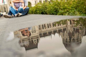 Couple kisses in photos on vacation in Hungary, by TripShooter Budapest photographer Melinda Guerini Temesi
