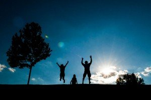Silhouette of jumping travelers, by TripShooter Budapest photographer Melinda Guerini Temesi
