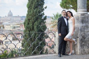 Beautiful couple pose together in Rome, by TripShooter Rome photographer Alex Marchese